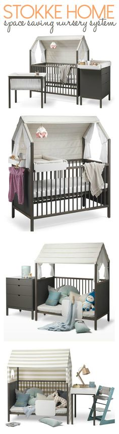 Space saving nursery system by STOKKE