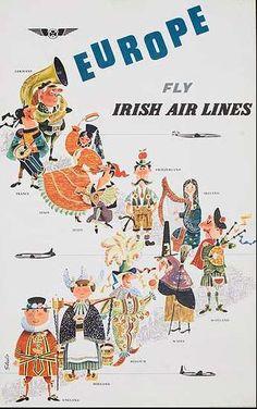 Publicidad de las líneas aéreas irlandesas sobre sus rutas a Europa. Nótese los tópicos referentes a las distintas naciones.