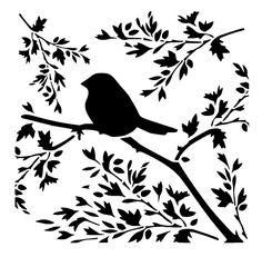 bird on branch stencil craft,fabric,glass,furniture,wall art in | eBay
