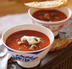 Unser beliebtes Rezept für Mediterrane Tomatensuppe mit Hackbällchen und mehr als 55.000 weitere kostenlose Rezepte auf LECKER.de.