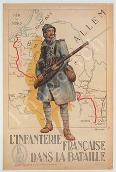 World War 1 Poster The French infantry in the battle by Imagerich