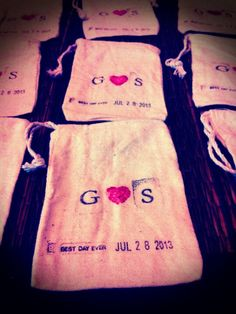 Mini canvas bags for wedding favor prize