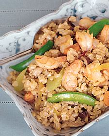 Make the rice a day ahead, or use leftovers; while cooking, constantly stir and toss the ingredients in the wok.