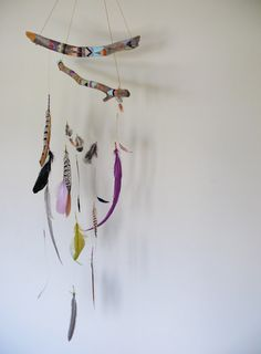 feather mobile with painted driftwood