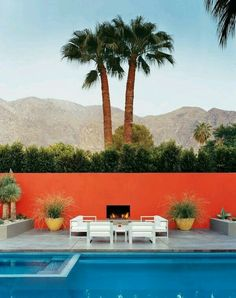 Landscaping Ideas Pool Design Palm Springs Mid-Century Modern Desert Home Outdoor Seating