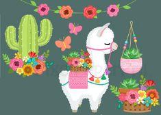 Alpacas, Alpaca Illustration, Cute Illustration, Arte Latina, Baby Animal Drawings, Cactus Stickers, Cute Alpaca, Happy Birthday Images, Jolie Photo
