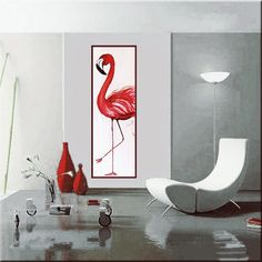Flamingo Acrylpainting on canvas 120x40cm Painted by me, Assie