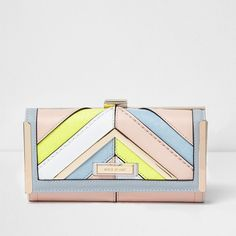 River Island Pink multicolored pastel clip top purse ($36) ❤ liked on Polyvore featuring bags, handbags, bags / purses, pink, purses, women, pink handbags, kiss-lock handbags, white hand bags and kiss lock purse