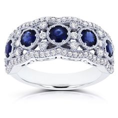 Shop for Annello by Kobelli White Gold 1 TGW Blue Sapphire and Diamond Anniversary Ring. Get free delivery On EVERYTHING* Overstock - Your Online Jewelry Destination! Opal Gemstone, Gemstone Jewelry, Jewelry Rings, Jewellery, Jewelry Accessories, Diamond Anniversary Rings, Sapphire Jewelry, Sapphire Rings, Bridal Rings