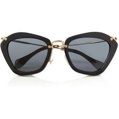 Miu Miu Cat Eye Sunglasses (21.395 RUB) ❤ liked on Polyvore featuring accessories, eyewear, sunglasses, glasses, black, cateye sunglasses, uv protection sunglasses, geometric sunglasses, cat-eye glasses and miu miu