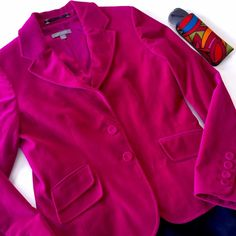 ANN TAYLOR pink velvet blazer  ANN TAYLOR velvet blazer in a rich magenta berry pink!  Sophisticated for office, yet so cool for weekend with denim. Size 4 (regular). Looks brand new! Cute velvet covered buttons. Excellent for winter to spring!  Ann Taylor Jackets & Coats Blazers