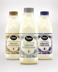 Puhoi Organic Milk — The Dieline - graphic design. visual communication. packaging. package design. label design. branding. layout. hierarchy. illustration.