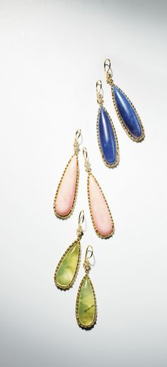 Long Drop Earrings with Diamonds, Blue Chalcedony, Pink Opal, or...