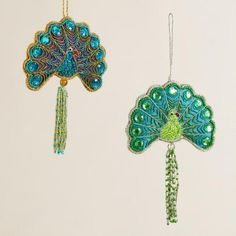 One of my favorite discoveries at WorldMarket.com: Fabric Peacock Ornaments, Set of 2