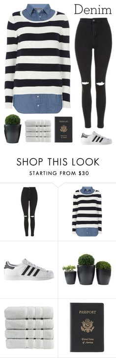 """Denim on denim"" by genesis129 ❤ liked on Polyvore featuring Topshop, Dorothy Perkins, adidas, Christy and Royce Leather"