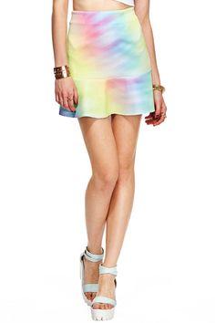 ROMWE | ROMWE Colorful Print A-line Falbala Skirt, The Latest Street Fashion