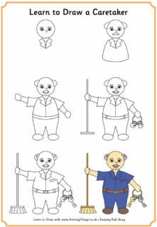 Learn to draw a caretaker