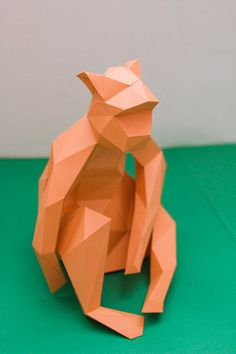 Paperized: Low Poly Sitting Monkey Papercraft 3d Paper, Paper Toys, Paper Crafts, Origami Monkey, Paper Models, Low Poly, Animals, Trophy Design, Exotic Art