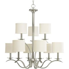 Our Price $286.56  Progress 9-light, 2-tier chandelier in brushed nickel and linen shades. Reg. Price 500.50