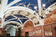 This is Vilnius University - one of its corridors/walkways.... Look at this painted European-style ceiling - breathtaking!!!
