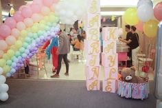 unique rainbow entrance styling for birthday Hot Air Balloon, Party Themes, Entrance, Balloons, Rainbow, Clouds, Birthday, Unique, Style