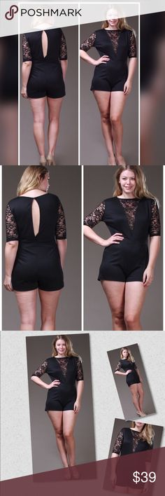 "PLUSNEWThe Elaina Sexy Romper 77% Polyester 18% Rayo  4% Spandex/70% Nylon 25% Polyester 5% Spandex. Half sleeve deep v-neck with lace detail romper. Model is wearing 1X and is 5'11"". Pants Jumpsuits & Rompers"