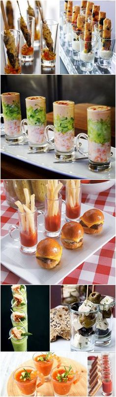 Catering Companies in Utah: Why choosing Rockwell Catering can make all the difference at your event! Wedding Canapé Ideas – Canapés in Shot Glasses Snacks Für Party, Appetizers For Party, Appetizer Recipes, Shot Glass Appetizers, Fun Canapes, Canapes Ideas, Delicious Appetizers, Wedding Buffet Food, Food Buffet