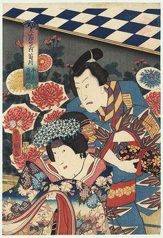 The Ninth Month: Bando Takesaburo I as Ushiwaka and Iwai Kumesaburo III as Minazuru-hime by Toyokuni III/Kunisada (1786 - 1864)