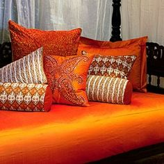 9 Good-Looking Tips: Decorative Pillows Beach Blue And White decorative pillows on bed movie nights.Decorative Pillows On Bed Movie Nights decorative pillows orange coffee tables. Orange Bedding, Orange Pillows, Orange Sofa, Rustic Decorative Pillows, Gold Pillows, Decor Pillows, Moroccan Style, Happy Colors, Interior Exterior