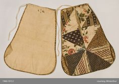 Textiles (Clothing) - Pocket 1780-1810.  This date range relates to the combination of textiles, the white grounded floral being earlier, although this could all be contemporary to the 19thc as the floral motifs are so varied and continuous throughout the 18thc and on into the 19thc - Angela Burnley