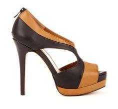 Black & Brown Peep Toe Wedge.
