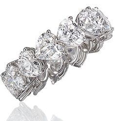 Heart shape ETERNITY Ring Diamonds wedding band white gold G-VS. Not sure if ugly or not. Heart Shaped Diamond Ring, Eternity Ring Diamond, Diamond Bands, Eternity Bands, Diamond Wedding Bands, Heart Jewelry, Diamond Jewelry, Fine Jewelry, Beautiful Rings