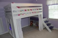 DIY Loft Full Size Bed - Loft beds are the good solution for small room. Loft beds is save a large enough space, without sacrificing comfort and balance Loft Bed Plans, Murphy Bed Plans, Bunk Beds With Stairs, Kids Bunk Beds, Loft Beds, White Loft Bed, Murphy-bett Ikea, Diy Bett, Modern Murphy Beds