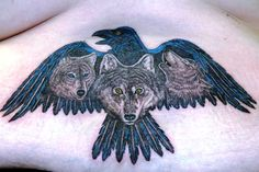 Wolf and Raven Tattoo