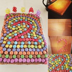 Smartie cake, rainbow cake, kids cake, Simple but effective cake for my son's birthday. (Love a tray bake, great for oven that don't really circulate the heat well like ours) Cool Birthday Cakes, 2nd Birthday, Cake Rainbow, Cake Kids, Tray Bakes, Oven, Baking, Simple, Awesome