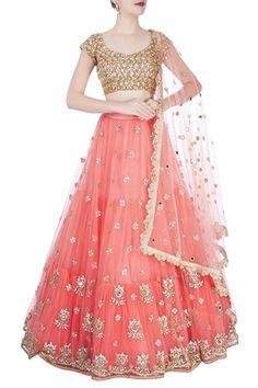 Shop Mrunalini Rao - Peach embroidered lehenga set Latest Collection Available at Aza Fashions Indian Gowns Dresses, Indian Fashion Dresses, Indian Designer Outfits, Half Saree Lehenga, Lehnga Dress, Indian Lehenga, Gold Lehenga, Sari, Half Saree Designs