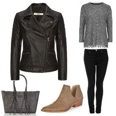 Black outfit from ClothingByColour.com Light Brown V Cut Out Ankle Boots, Bulaggi Tote Shopper Bag, TALL MOTO Leigh Skinny Jean, PETITE Fringe Knitted Sweatshirt, Stevie Leather Biker, Double Zip Detail Biker Boot