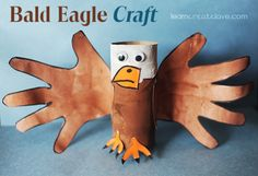 Bald eagle craft idea using recycled materials