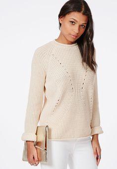 Stitch Detail Knitted Jumper Vanilla - Knitwear - Missguided