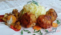 Recept Krůtí hrudky s kukuřičnými lupínky Tandoori Chicken, Baked Potato, Mashed Potatoes, Cauliflower, Food And Drink, Beef, Baking, Vegetables, Ethnic Recipes