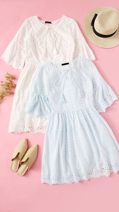 To find out about the Tassel Tie Neck Eyelet Embroidered Smock Dress at SHEIN, part of our latest Dresses ready to shop online today! Indian Fashion Dresses, Indian Designer Outfits, Girls Fashion Clothes, Teen Fashion Outfits, Look Fashion, Dress Fashion, Stylish Dresses For Girls, Stylish Dress Designs, Designs For Dresses