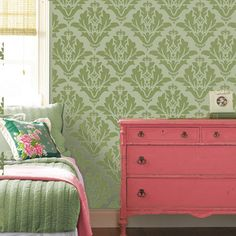 Paint Damask wallpaper effect using one stencil and any colour paint of your choosing. Ideal home decorating stencils. Create beautiful damask