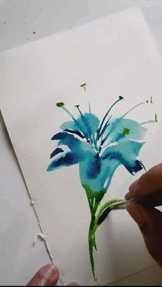Watercolor Art Lessons, Watercolor Paintings For Beginners, Watercolor Cards, Floral Watercolor, Learn Watercolor Painting, Watercolor Pencils Techniques, Watercolor Pencil Art, Lily Painting, Watercolor Illustration