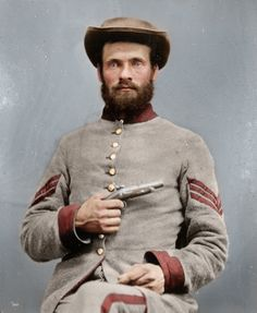 An unidentified Confederate Sergeant, ca. 1865. I love that this has been colorized!