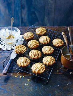 Coffee, cardamom and almond friands with toffee drizzle   This gorgeous friands are the perfect snack for any occasion! From Miranda Gore Browne this are simply irresistible!