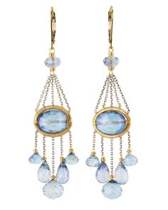 Dana Kellin Blue Quartz and Sapphire Earrings