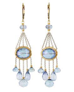 Dana Kellin Blue Quartz and Sapphire Earrings