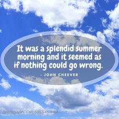 It was a splendid summer morning and it seemed as if nothing could go wrong.   - John Cheever John Cheever, Summer 3