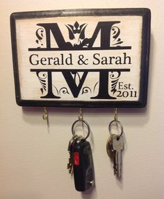Personalized Wedding Gift- Monogram Key Holder. Awesome for Engagement Gift, Bridal shower, Couple's Gift, Housewarming. Wedding gift idea