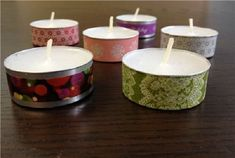 crafts: Christmas Washi tape tea light candles Just mod podge and ribbon! Festive Crafts, Xmas Crafts, Tea Light Candles, Tea Lights, Washi Tape Crafts, Tin Can Crafts, Homemade Candles, Candle Centerpieces, Recycled Bottles